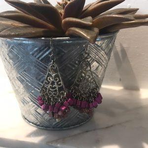 Jewelry - Boho Fuchsia & Gold Chandelier Earrings